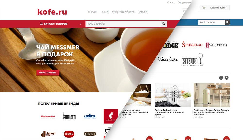 быстрая адаптивная витрина, одна из слагающих успешного запуска интернет-магазина кофе.ру, сделанного на платформе для интернет-магазинов cs-cart