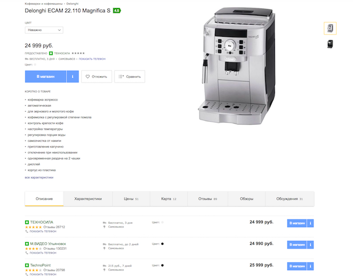 Подборка цен на кофеварку на Яндекс.Маркете — отличный способ анализа конкурентов