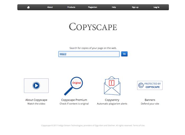 Главная страница сервиса Copyscape пригодится для SEO-оптимизации вашего интернет-магазина