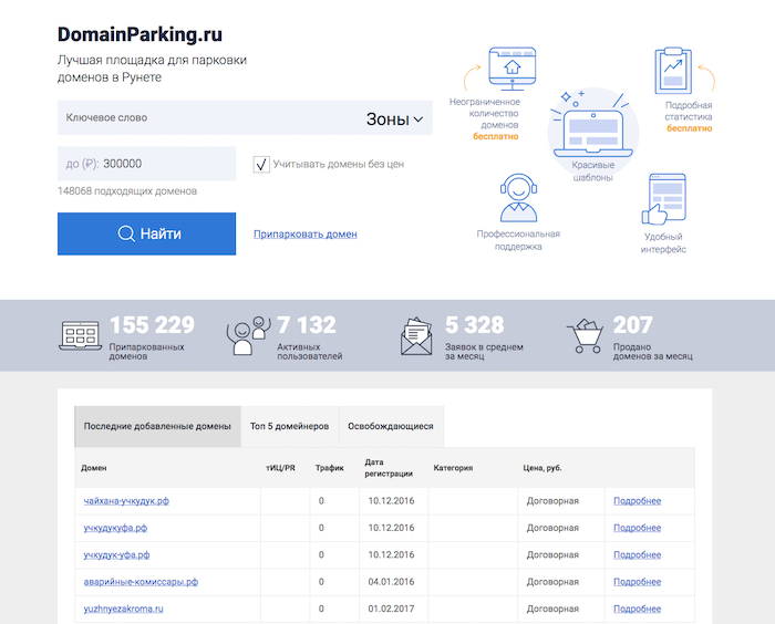 Главная страница сайта, продающего домены