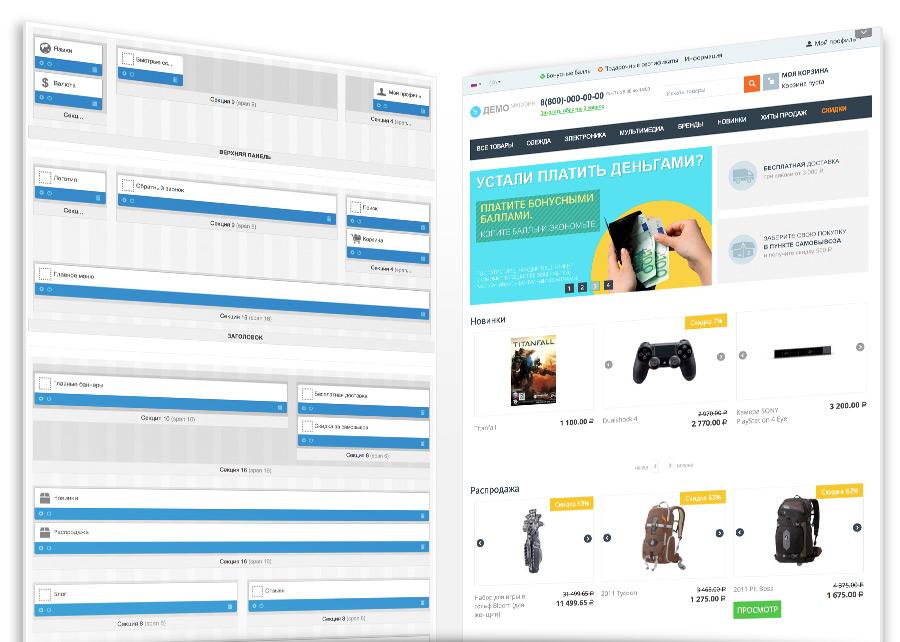 Макет страницы в CS–Cart – это совокупность данных о наборе информационных блоков на конкретной странице, их содержимом, расположении и оформлении